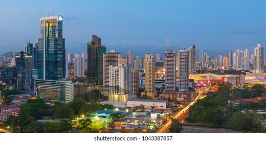 PANAMA CITY, PANAMA - FEBRUARY 17, 2018: Panorama and long exposure photograph of the Panama City skyline and its financial district  after sunset, Central America.