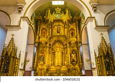 PANAMA CITY, PANAMA - FEBRUARY 20, 2018: The main altar of the San Jose church in baroque style decorated with gold leaf and religious statues.