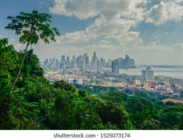 Panama City, Panama - February 26, 2017: Panoramic view at Panama City skyscrapers of the city from the jungle of Panama