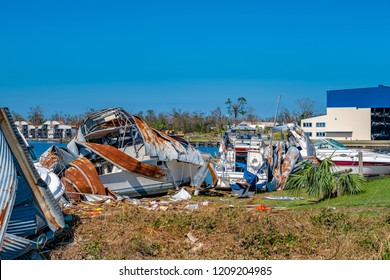 Panama City, Florida, United States. October 18, 2018. Hurricane Michael destroys boats and marina in Watson Bayou.