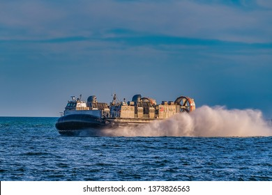 Panama City, Florida, USA, 04/17/2019 The Landing Craft Air Cushion (LCAC) is a class of air-cushion vehicle (hovercraft) used as landing craft by the United States Navy's Assault Craft Units