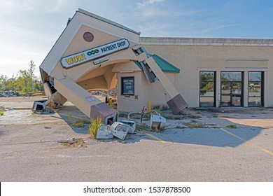 Panama City, Florida, USA 10/21/2019. The WOW cable company office was damaged during hurricane Michael. This is what is looks like one year after the storm.