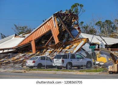 PANAMA CITY, FLORIDA, USA - OCTOBER 18, 2018:  Image of a destroyed industrial building in Panama City aftermath Hurricane Michael