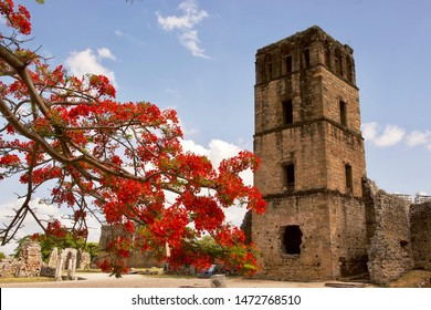 Panama City, Panama City / Panama - January 14 2019: Panamá Viejo, also known as Panamá la Vieja, is the ruins of the old Panama City