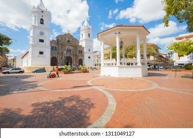 Panama city Panama January 2019 Independence Square and Panama City Cathedral iin a sunny day. The heart of Casco Viejo a colonial district of Panama City known for its well kept buildings and bars.