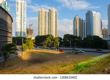 Panama City Panama January 29 2019 Panoramic view of Interamerican highway and skyline of Panama City. It connects all the big cities in Panama and its represent  the faster way to reach them.