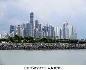 Panama City, Panama – Jul 21, 2018: Panama City skycrappers as seen from the Old City.