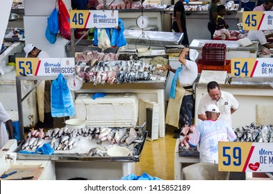 Panama City, Panama - Jun 2, 2019: Daily scene at the Panama City Fish Market, a well known place in the city to buy fresh seafood.