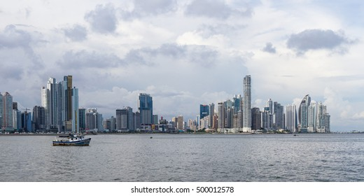 Panama City, Panama- June 08: Cityscape from across the bay in Panama. June 08 2016, Panama City, Panama.