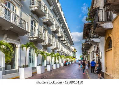 Panama City, Panama - Mar 10th 2018 - Tourists and locals walking through the old colonial town of Panama City in a blue sky day in Panama