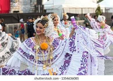 PANAMA CITY, PANAMA - MARCH 04, 2019: folklore dances in traditional costume at the carnival in the streets of panama city panama