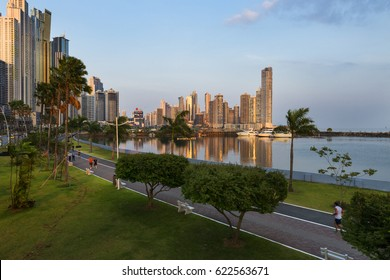 Panama City, Panama - March 18, 2014: View of the downtown of Panama City in Panama at sunset.