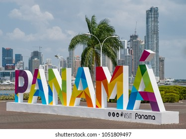 Panama City, Panama - March 2018: The famous Panama sign and the skyline of Panam City