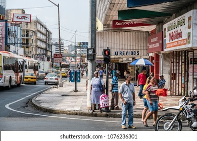 Panama City, Panama - march 2018: People on busy shopping street in Panama City , Avenida Central