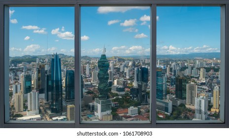 Panama City, Panama - march 2018: The view from Hard Rock Hotel on skyline of Panama City