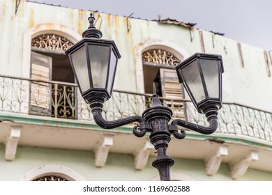 Panama City, Panama. March 2018. A view of typical colonial architecture in the old town in Panama City in Panama