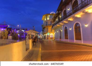 Panama City, May 14: Beautiful view of Spanish colonial houses and plants in Casco Viejo, Panama City, Panama on May 14, 2017.