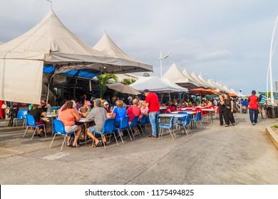 PANAMA CITY, PANAMA - MAY 27, 2016: Various eateries at Mercado de Mariscos (Seafood Market) in Panama City