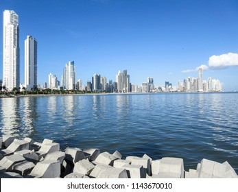"Panama City, Panama – Nov 28, 2015: Panama City skycrappers as seen from the malecon or ""Cinta Costera"""