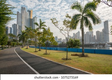 Panama City ocean promenade, sidewalk of public park with skyline backgound - Avenida Balboa