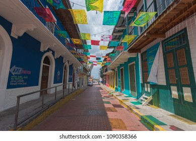 Panama City, Panama--April 19, 2018. A brightly decorated block in Panama City captures the energy and charm of the city. Editorial use only.