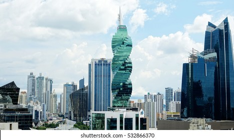 PANAMA CITY, PANAMA-DEC 8, 2016: The F&F Tower is an office tower in Panama City. Emporis selected the F&F Tower among the top ten best skyscrapers of the year in 2011