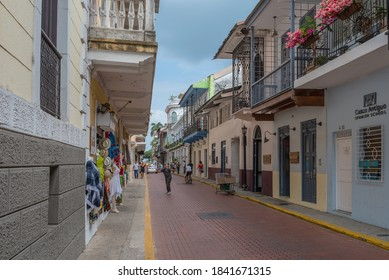 PANAMA CITY, PANAMA-MARCH 03, 2019: beautiful building facades in the historic old town, Casco Viejo, Panama City