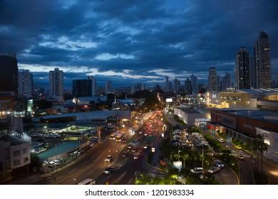 PANAMA CITY, PANAMA - SEPTEMBER 18, 2018: Panoramic view city skyline illuminated at night, Panama City, Panama