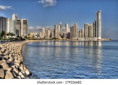 Panama City skyline and the Panama Bay.