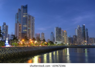 Panama City skyline and Bay of Panama, Central America in the twilight