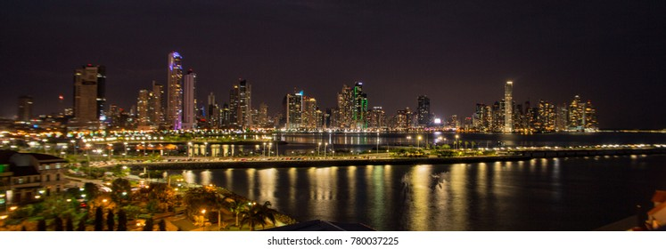 Panama City skyline lit up at night with clear skies