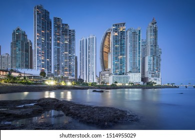 Panama city skyline at night with lots of buildings