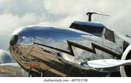 Panama City, USA - March 26, 2011: A vintage 1930s Lockheed Model 10 Electra, the type of plane flown by Amelia Earhart.