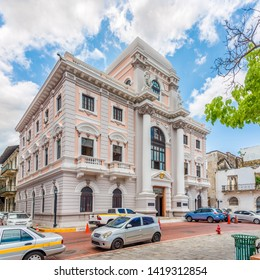 PANAMA CITY,PANAMA - MARCH 28,2019 - Building of City Hall in Old District (Casco Viejo)of Panama City. Casco Viejo is the historic district of Panama City.