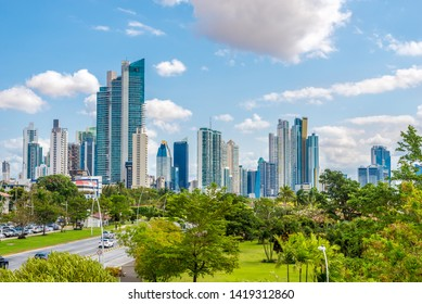 PANAMA CITY,PANAMA - MARCH 28,2019 - View at the Downtown of Panama City. Panama City is Capital of Panama.