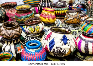 Panama embera indian woven baskets at Panama City, Panama, Central America