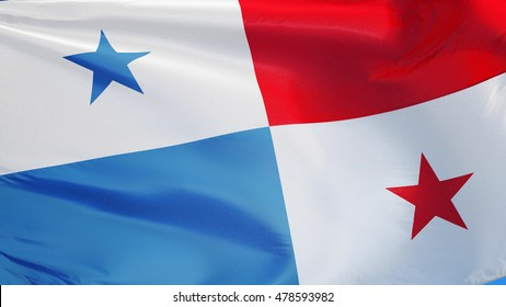 Panama flag waving against clean blue sky, close up, isolated with clipping path mask alpha channel transparency