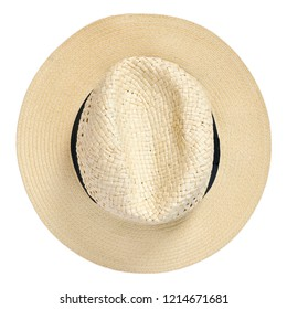 Panama hat, traditional summer hat with black hatband or ribbon, isolated on white background. Cut out object with top view or high angle view.
