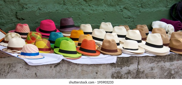Panama hats set out for sale at an open air market in Bogota Colombia.
