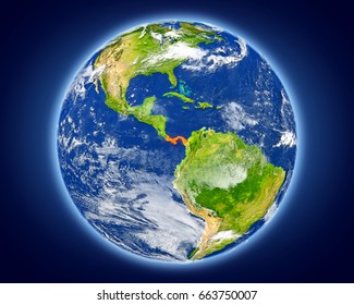 Panama highlighted in red on planet Earth. 3D illustration with detailed planet surface. Elements of this image furnished by NASA.