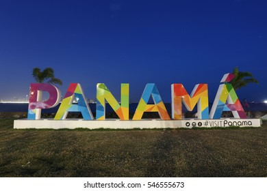PANAMA - JAN 1, 2017: When the Panama sign was constructed in downtown Panama City, it has become one of the most photographed landmarks of the City on Amador, Panama on January 1st, 2017