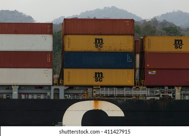PANAMA - MARCH 20: Cargo Ships in Panama Canal, March 20, 2016 in Panama