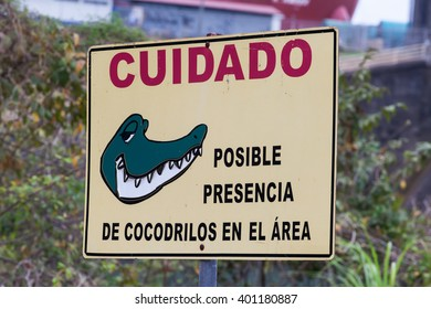 PANAMA - MARCH 22: Crocodiles - warning sign, March 22, 2016 in Panama
