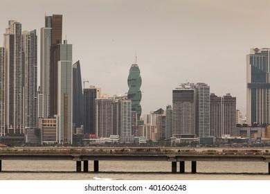 PANAMA - MARCH 23: Panama City Skyline, seen from Casco Viejo, March 23, 2016 in Panama