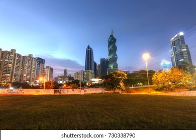 PANAMA, OCT 8: Stunning view of Panama City in the twilight in Panama City, Panama on Oct 8, 2017. Is main commercial area in all the country where are the main banks and government offices.