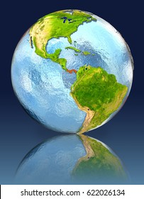 Panama on globe with reflection. Illustration with detailed planet surface. Elements of this image furnished by NASA.