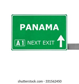 PANAMA road sign isolated on white