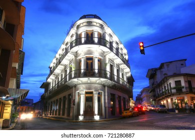 PANAMA, SEP 24:  Casco Viejo (Spanish for Old Quarter) of Panama City in the twilight.  Casco viejo was designated a World Heritage Site in 1997 in Panama on Sept. 24, 2017.