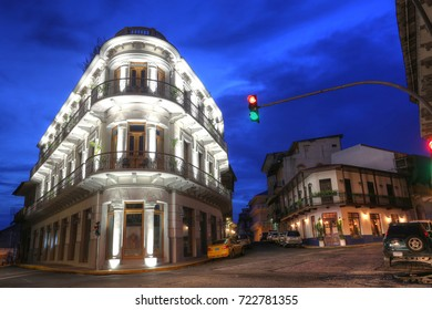 PANAMA, SEPT 24: Casco Viejo (Spanish for Old Quarter) of Panama City in the twilight.  Casco viejo was designated a World Heritage Site in 1997 in Casco Viejo, Panama on Sept 24, 2017.