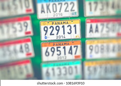 Panama vehicle registration plates.